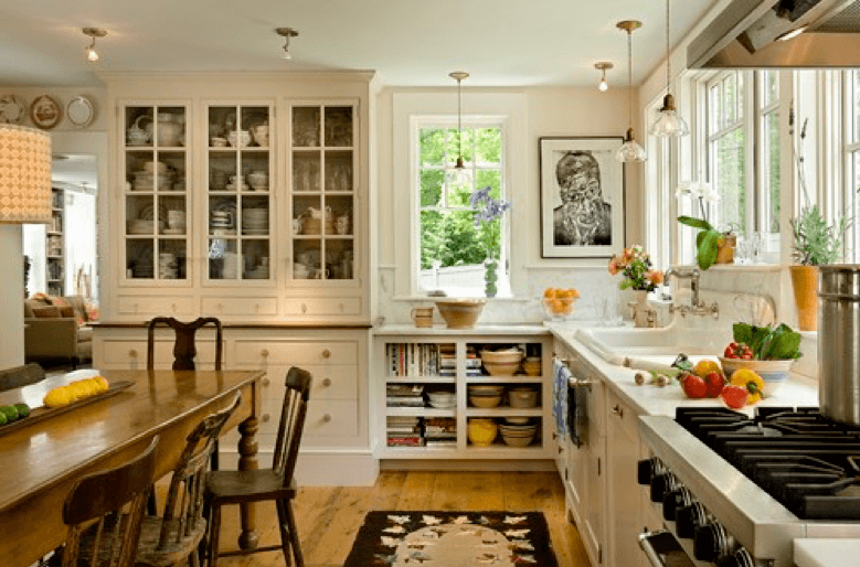 Kitchen with open cabinets and hardwood floors