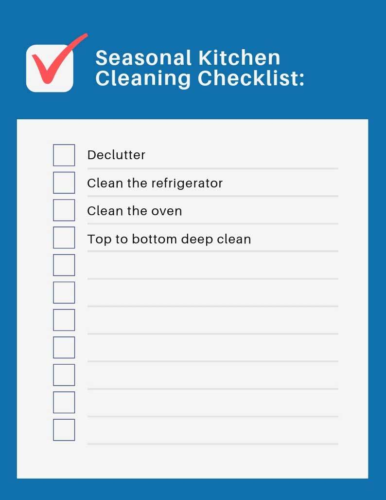 cleaning checklist for seasonal kitchen